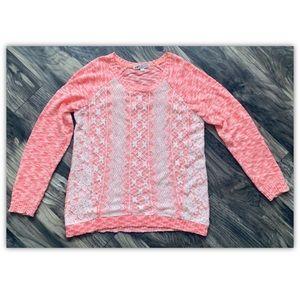 Jolt Sweater Size Large L Bright Salmon White Lace